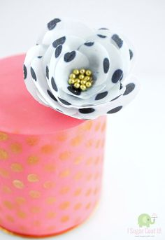Polka Dot Wafer Paper Flower