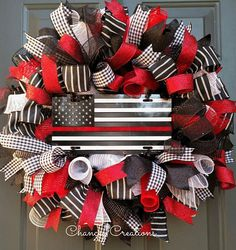 Firefighter Deco Mesh Wreath Thin Red Line Wreath Firefighter Home Decor, Firefighter Wedding, Firefighter Room, Female Firefighter, Firefighter Quotes, Wreaths For Front Door, Door Wreaths, Wreaths For Sale, Wire Wreath Frame