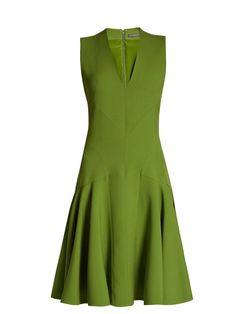 Click here to buy Alexander McQueen V-neck wool-blend sleeveless dress at MATCHESFASHION.COM