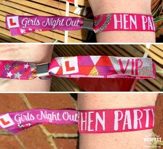 Hen Party Wristbands - Girls Night Out VIP Party Wristbands If you are a festival bride or planning a festival themed wedding or festival themed Hen Party then these Festival Style Hen Party VIP Wristbands are an absolute must for your Hen Night or Hen Party weekend.  ***** NOTE: These wristbands have been updated for 2016 and do not feature the year 2015 - The text on the wristband reads GIRLS NIGHT OUT on the main part of the band, and then HEN PARTY and VIP on the two tails - new photos…