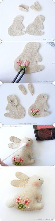 Брошь-заяц из фетра с вышивкой. МК