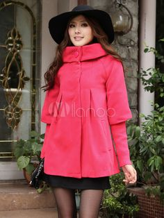 Chic Watermelon Red Half Sleeves Gabardine Women's Outerwear - Milanoo.com