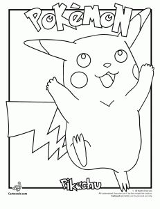 pokemon pikachu coloring 231x300 Pokemon Coloring Pages & Pokemon Printable Crafts