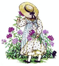 taking time to smell the flowers...Holly Hobbie.