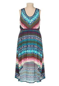 Lace trim high-low floral print plus size dress (original price, $49) available at #Maurices
