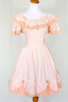 70's Vintage Square Dance Dress in Peach by pinebrookvintage, $36.00