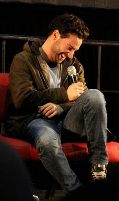Aidan Turner. I love it when he laughs! It always makes me smile.