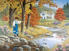 Stepping Stones  JohnSloaneArt.com - John Sloane - Gallery - Country Kids