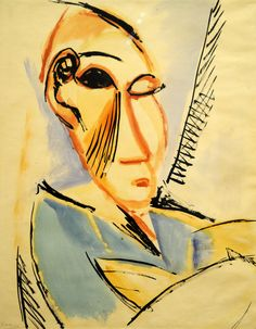 Pablo Picasso. Head of the Medical Student (Study for Les Demoiselles d'Avignon). (June 1907). MoMA, NYC
