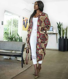 The Nimi African print Ankara Kimono jacket coat dress L'africain impression Ankara kimono robe de M African Inspired Fashion, African Print Fashion, Africa Fashion, Ethnic Fashion, African Print Dresses, African Fashion Dresses, African Dress, African Prints, African Outfits