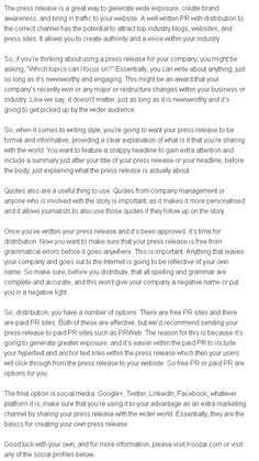 Press Release Writing Advice