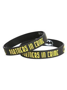 DC Comics Batman Partners In Crime Rubber Bracelet 2 Pack | Hot Topic Batman Robin, Batman Love, Im Batman, Batman Stuff, Batman Outfits, Rubber Bracelets, Batgirl, Batman Gifts, Superhero Gifts