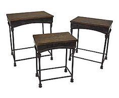 Set di 3 tavolini in pino e ferro Nature - max 51x58x36 cm