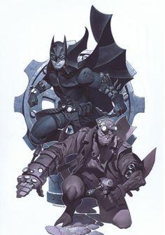 Steampunk Batman and Hellboy by Chris Stevens