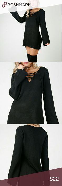 Black Sweater Dress Lace up Chest Black Sweater Dress w/ waist tie Black True to size L Dresses Mini