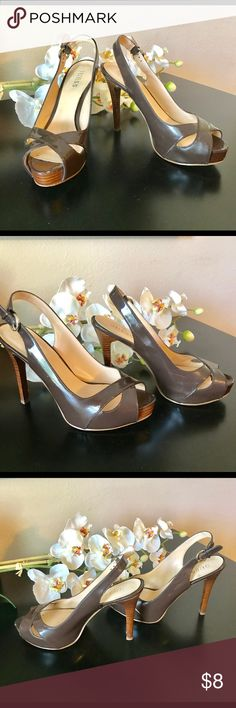 "Guess Size 8M Brown Heels Heel height 5"", good condition with minor scuffs, see pics for details. Guess Shoes Heels"