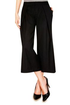 "One of the ""must"" pants of the season is the coulotte. Cut in our stretch suiting fabric, the ""Davis Jr"" is the style for all fashion forward Ecru girls. Mid rise wide leg.    Measures: Inseam: 26"", Leg opening: 19"".     Davis Jr. Pant  by Ecru. Clothing - Bottoms - Pants & Leggings - Black Clothing - Bottoms - Pants & Leggings - Cropped Clothing - Bottoms - Pants & Leggings - Flare & Wide Leg New Hampshire"