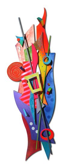 """""""This New Space"""" wood sculpture acrylic paint art 3d"""