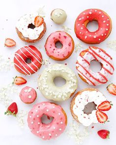 Homemade doughnuts with natural color icing. Strawberry, strawberry & milk, matcha green tea with elderflowers and whip cream with strawberries. Happy national doughnut day!
