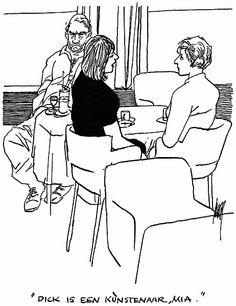 """""""Dick is an ártist, Mia."""" Art cartoon."""