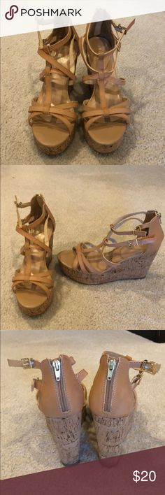 Women's wedge sandals Great condition. Express wedge sandals! Super comfy Express Shoes Wedges