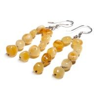 Milky Amber Silver and Linen Hook Earrings. Silver jewellery gifts
