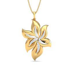 Buy Gold Pendant Online 0.08 Ct Real Diamond Office Wear