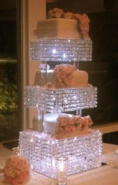 Chandelier style, 3 tiered Custom CRYSTAL CAKE STAND with thousands of Genuine hanging crystals! Can be made to light up too! Brand new, custom made to Cake And Cupcake Stand, Cupcake Party, Diy Wedding, Dream Wedding, Wedding Ideas, Sparkle Wedding, Wedding Flowers, Crystal Cake Stand, Decoration Evenementielle