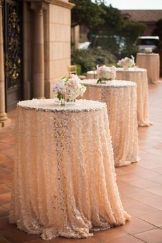 Sequin Cocktail Hour Tables and Centerpieces    Photography: Boyd Harris Photographs   Read More:  http://www.insideweddings.com/weddings/a-jeweled-floral-wedding-at-fairmont-grand-del-mar-in-san-diego/745/