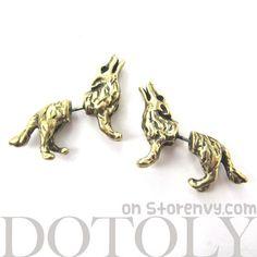 3D Fake Gauge Realistic Wolf Dog Animal Stud Earrings in Bronze $12.50 #wolf #dogs #animals #jewelry #earrings