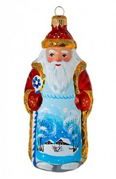 Ded Moroz (Old Man Frost; a kind of Santa) from Russia. This Christmas tree ornament is made of glass and hand-painted. #Russia