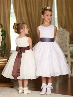 Ivory Gorgeous Pick Your Satin Bow Sash Flower Girl Dress - Create Your Own Dress - GIRLS