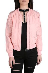 Spoiled Milk The Brianna Satin Bomber in Pink