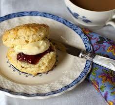 English scones with Devonshire cream and jam