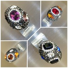 #Dazzle and #shine ✨✨✨ with more of these #gorgeous 😍 #classy #rings 💍with #semi-precious #stones in them 💕 #elegant #swarovskicrystals #marcasite #sterlingsilver #semipreciousstones #semiprecious
