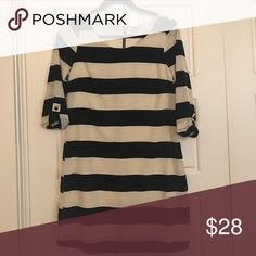 Pink Owl Dress Size S Cute and flowy Black and Ivory stripe dress! Beautiful on! Pink Owl Dresses Long Sleeve