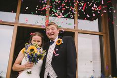 Fun confetti wedding portrait Berkshire