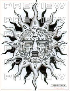 amazing aztec sun with tribal tattoo  design