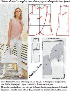Dress Sewing Patterns, Blouse Patterns, Sewing Patterns Free, Clothing Patterns, Blouse Designs, Fashion Sewing, Diy Fashion, Costura Fashion, Diy Clothes