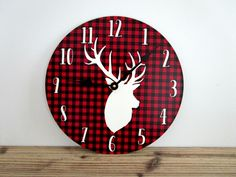 Red Plaid Wall Clock with Deer Head - Woodland Wall Clock - Red Cabin Decor - Rustic Wall Decor - Unique Wall Clocks - Fall or Winter Decor by GoldenDaysDesigns on Etsy https://www.etsy.com/listing/198804004/red-plaid-wall-clock-with-deer-head