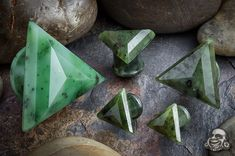 Nephrite Jade plugs, double triangles. <3 my fave shape.