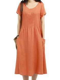 Women Short Sleeve O Neck Pocket Linen Loose Dress Καλοκαιρινά Φορέματα c5fafaa66c1