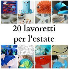20 lavoretti per bambini per l'estate, sul tema del mare, da realizzare con carta, cartoncino, piatti di carta e altri materiali di riciclo.