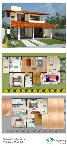 Sobrado com salas de estar e jantar conjugados, e cozinha bem ampla com bancada que liga à sala de jantar Sua garagem possui 12,70 m2 de área. Com um dormitório, e duas suítes. Com uma confortável varanda no andar superior. Telhado em telha de barro.