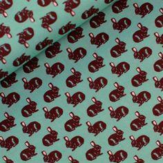 Stoff Hase: Rabbit  - hell - türkis ,  weicher Stoff aus gekämmter Baumwolle, Kinderstoff, Stoffe für Kinder, modische Farben , Popeline von rauffaser auf Etsy