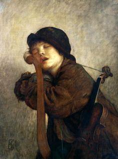 Antoine Auguste Ernest Hebert - Petit Violoneux Endormi
