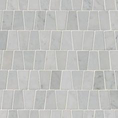 MSI Carrara White Trapezoid Pattern Polished, Home Depot Mosaic Backsplash, Mosaic Tiles, Kitchen Backsplash, Mosaic Bathroom, Backsplash Ideas, Tile Ideas, Wall Tiles, Mosaics, Bathroom Signs