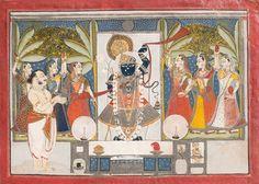 Dauji II Performing Aarti on Sharada Purnima, first quarter of the 19th century. Nathdwara, Rajasthan, India. Amit Ambalal Collection.