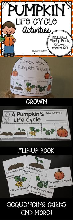 Pumpkin Life Cycle Activities Set - This adorable set includes a Pumpkin Life Cycle flip-up book (in color and B&W), a crown activity (in color and B&W), vocab cards, sequencing cards (great for pocket charts and centers!), and two practice pages (one is shown in the picture). All of these great activities are sure to add some pumpkin-spiced FUN to your classroom this fall!