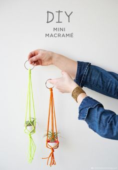 Easy Macrame Projects for the Beginner : Mini Bright Colors Macrame Plant Hanger Macrame is a super popular diy trend. Check out these super easy macrame projects for the beginner. You can complete them in a weekend and make something t Macrame Projects, Craft Projects, Fun Crafts, Arts And Crafts, Creative Crafts, Macrame Plant Hangers, Crochet Plant Hanger, Macrame Plant Holder, Rope Plant Hanger